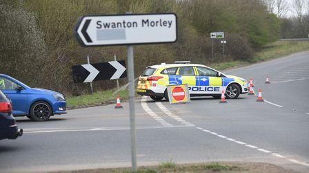 Police awaiting highways following an earlier accident on the A47, near Dereham. Picture: IAN BURT
