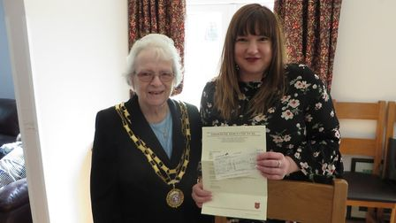 Mayor Hilary Bushell donated two cheques to charities of her choice. Picture: Dereham Town Council