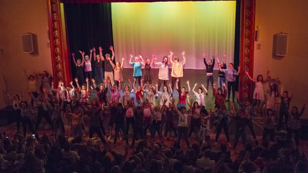 On stage at Dereham Neatherd High School's annual dance show at the Dereham Memorial Hall. Picture: