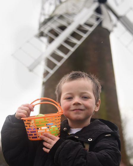 Tyler Duggan, four, with the eggs he collected at the Dereham Windmill's annual Easter Egg Hunt. Pic