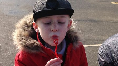 Blowing bubbles during British Science Week at Toftwood schools. Pictures: Kirsty Ponder
