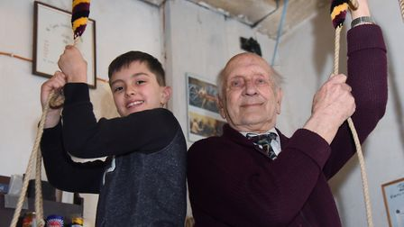 Peter Woodcock, 84, who has been bell ringing for 70 years, and Jayden Stebbings, 10, ringing at All