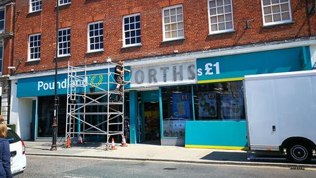 During the installation of new signage to the front of Poundland, on Market Place, Dereham, former W