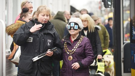 Dereham Mayor Hilary Bushell took part in a blind folded walk through the town in March. Picture: Ia
