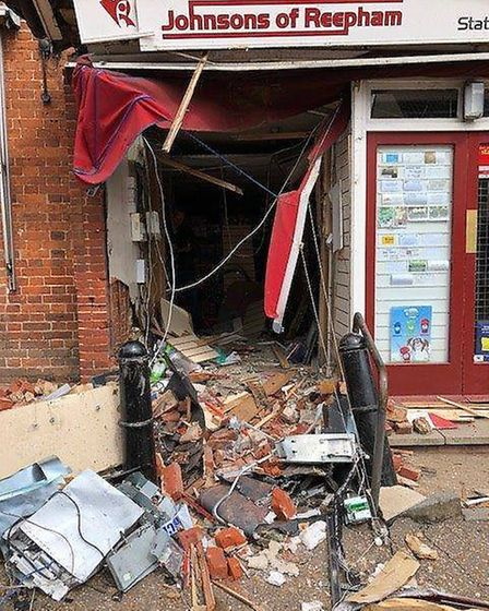 The Post Office in Reepham after a JCB was removed following a ram raid. Photo: Norfolk Constabulary