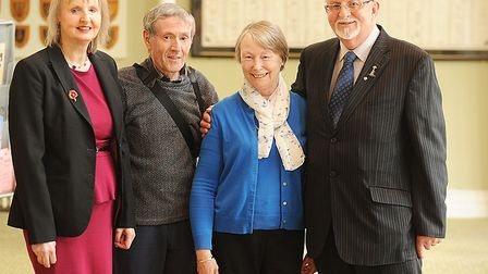 Children of Le Paradis Massacre met for the first time at Dereham's Memorial Hall. Picture: Ian Burt