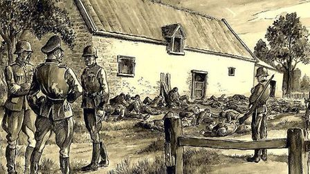 Charles Long dramatically depicts the harrowing aftermath of the atrocity in a drawing entitled Mass