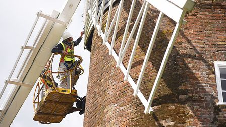 Dereham Windmill is currently having a fresh lick of paint. Picture: Ian Burt