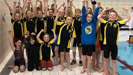 The Dereham Otters squad who took part in the Norfolk Junior League round two gala are all smiles. P