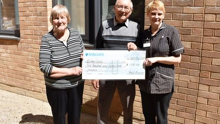 From left, Sheila Brunton, husband Terry and Matron for Oncology, Jo Richardson. Picture: Norfolk an