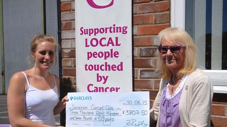 Zoe Ryder presents a cheque to Janet Money from Dereham Cancer Care.
