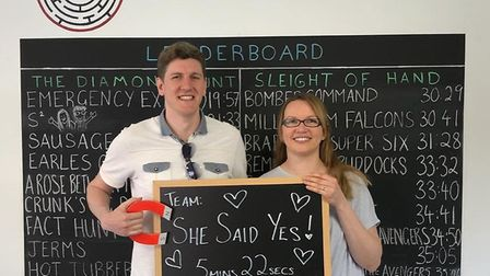 Craig Grime was so delighted when his girlfriend Sarah Huke cracked the code at Puzzlescape, he prop