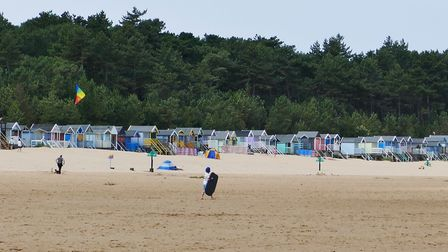 Wells beach and it's colourful beach huts. Photo: Lesley Buckley