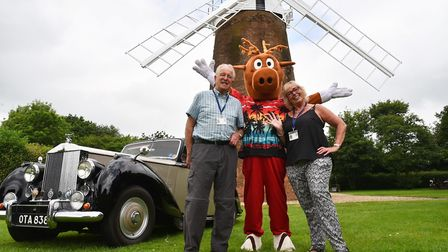 Dereham windmill reopens for the summer.Brian and Alison Webb with Biscuit the carnival mascot.Bylin