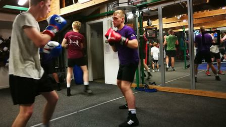 Dereham Boxing Club. Two boxers hard at work during a training session. Picture: DONNA-LOUISE BISHOP
