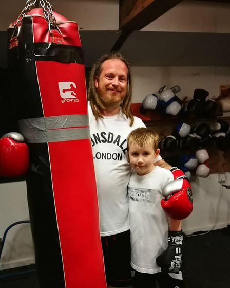 Dereham Boxing Club. Pictured are members Barry Webb, 38, with his son Cane, 8. Picture: DONNA-LOUIS