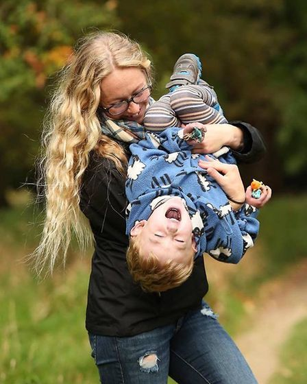 Kyra Welch playing with her son Kaiden Griffin. Picture: Submitted by Kyra Welch.