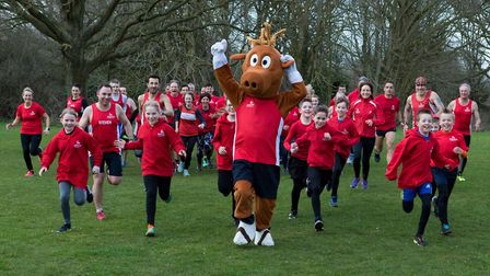 The Dereham Runners with Dereham Carnival's mascot, Biscuit the deer. Picture: MICHAEL LYONS PHOTOGR