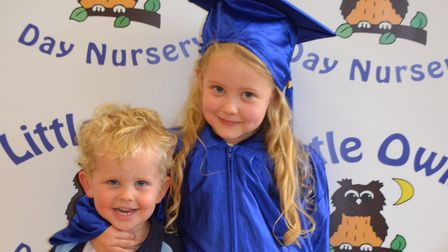 Little Owls from Toftwood and Scarning enjoy their graduation ceremony. Izzy Prentice and her brothe