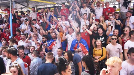 Fans watching the England game against Panama in The Railway Tavern in Dereham. Picture: Ian Burt