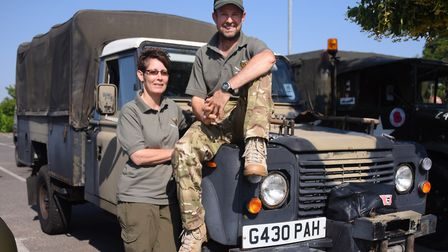 Richard and Lesley Phillips from Bergh Apton, and their Landrover 127 Rapier, as the Norfolk Militar