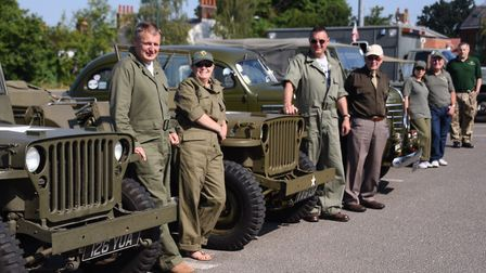 Norfolk Military Vehicle Group drivers and their vehicles before their road run from Dereham. Pictur