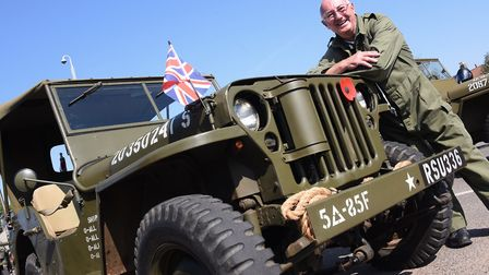 Organiser Mike Curtis with his 1942 American Willys jeep as the Norfolk Military Vehicle Group prepa