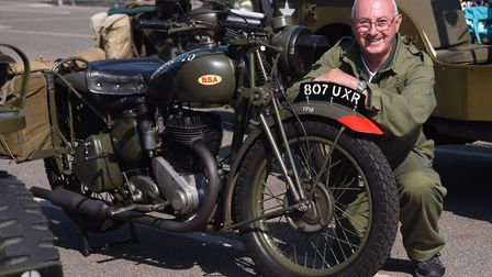 Organiser Mike Curti, with his 1943 BSA motorbike as the Norfolk Military Vehicle Group prepares for