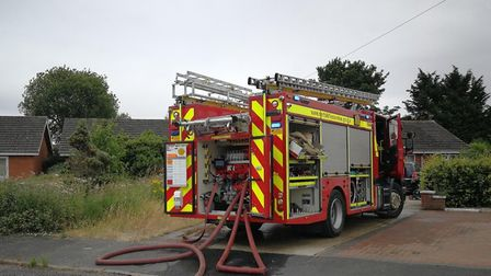 Firefighters from Dereham were called to put out a garage fire in the town. Picture: DONNA-LOUISE BI
