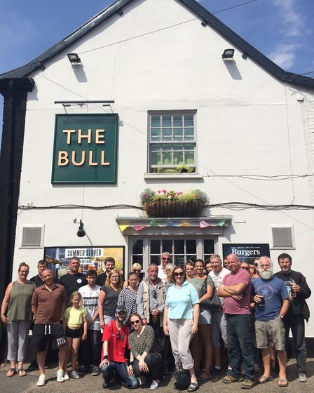 Customers and friends of Vicky Evans-Melo, manager of The Bull in Dereham turn out in support. PHOTO