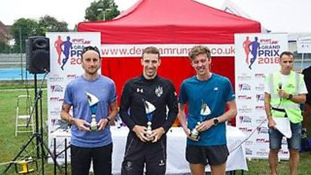 Dereham 5k run. 1st place Sean Watson (in the middle), 2nd Samuel Coyne (on the right) and 3rd Callu