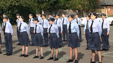 The cadets line up for the inspection. Pictures: David Bale