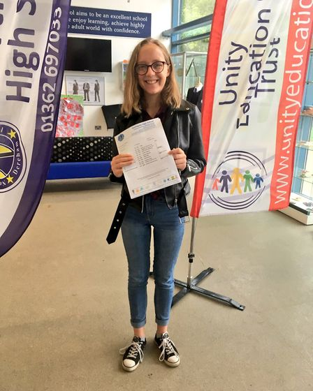 Emily Booth, deputy head girl at Northgate High School in Dereham, achieved five grade 9s. Photo: Je