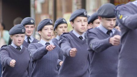 Cadets taking part in the Dereham battle of Britain parade circa 2000. Picture: ARCHANT LIBRARY.