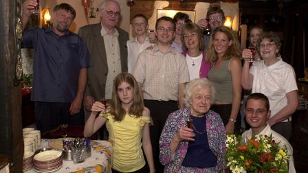 Grace Smith and her family celebrate her 100th birthday at the Cantley Cock pub. Photo: Paul Hewitt