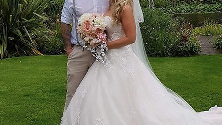 Tom Willmott and his wife Kayleigh on their wedding day, organised within three weeks. Picture: KERR