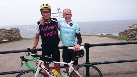 Cycling from Land's End to John O'Groats, (left to right) Nigel Arnold, 60, of Aylsham, and brother-