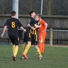 The Ghosts celebrate after the early goal from James Tricks.