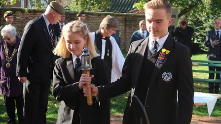 Katie Burton and David Taggart, the head girl and head boy from Dereham's Northgate High School, car