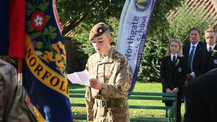 Army cadet Lance Corpral Harrison Grant read out a poem at the Torch of Remembrance ceremony at the