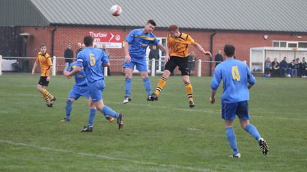 Ashley Jarvis heads towards goal during Fakenham's draw with Walsham-le-Willows. Picture: TONY MILES