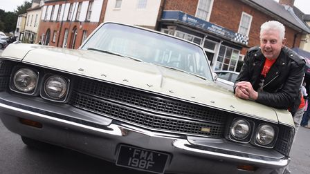 Richard Phillips, proud of his 1968 Chrysler New Yorker, one of the vehicles on show at the Reepham