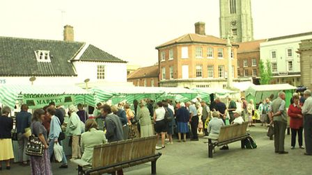 A flashback to Fakenham's first farmers' market, in May 2001.