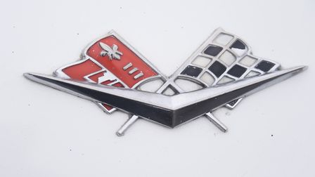 A Chevrolet Corvette badge on a car on show at the Reepham Classic Car Festival. Picture: DENISE BRA
