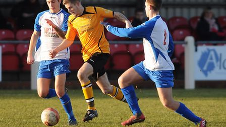 Sam Garner, middle, had a day to remember on Saturday for Fakenham Town. Picture: IAN BURT