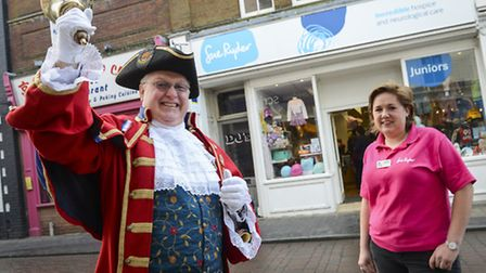A new Sue Ryder Junior shop has opened up in Fakenham on Norwich Street. Thetford Town Crier Mike Wa