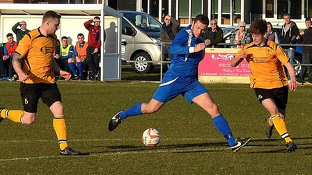 ON THE BALL: Kirkley and Pakefield versus Fakenham at Walmer Road. Pictures: MICK HOWES.