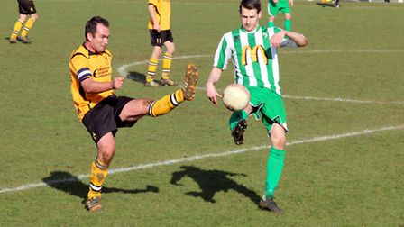 Stephen Harvey, left, in action during the Ghosts' 2-0 weekend win over Whitton. Picture: TONY MILES