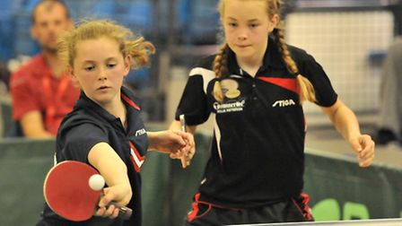 Mollie Patterson, right, in action. Picture: ANDY CHUBB