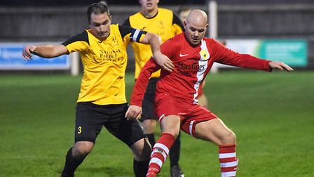 Action from Fakenham Town v Newmarket Town, red. Picture: Ian Burt